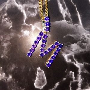 "18""Cuban Chain + Gold Finish Purple CZ Initial M."